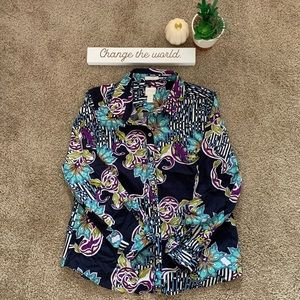 Chico's Floral Pattern Button Up